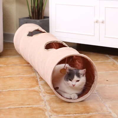 Pet Cat Tunnel With Scratch Ball Holes Kitten Crinkle Fun Rabbit  Suede Play Toy