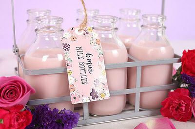 Shabby Chic 6 Mini Milk Bottle's In Decorative Metal Crate With Carry Handle