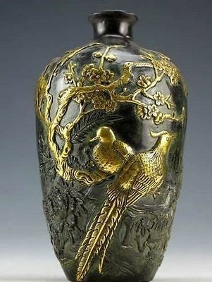Chinese Vintage Collection Bronze Statues Gold-plating Flower Bird Vase pot 20c