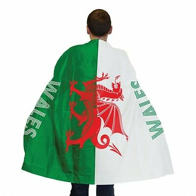 Welsh Dragon Flag Cape - St David's Day - Sports Rugby Fan - Adult Size - 993973
