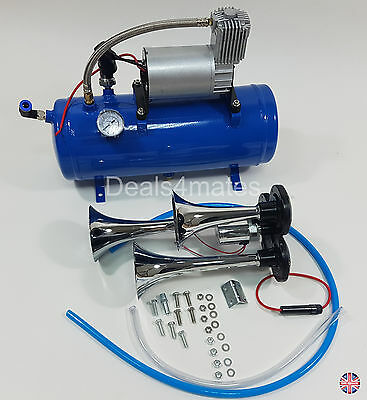 Triple 3 Compact Train Truck Bus Air Horn With 6 Liters 150 Psi Air Compressor
