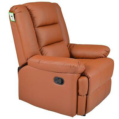 Capri Light Brown Real Leather Recliner Armchair Lounge Chair Sofa Reclining