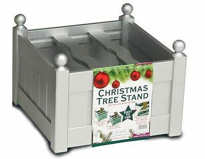 18'' Large Wooden Silver Christmas Tree Stand UK Made