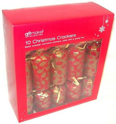 Pack Of 10 Mini Family Christmas Crackers Tableware Gold & Red Holly 22cm x 4cm