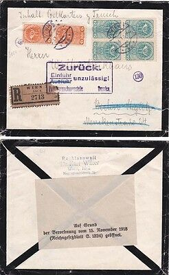 AUSTRIA-Forbidden Mail 1919 Mourning registered cover  {See Below}