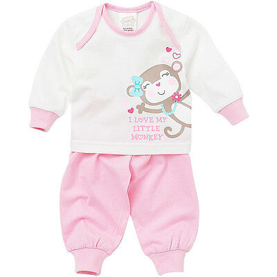 Lullaby Baby Girls Cute Cheeky Little Monkey Long Sleeve Cotton Pyjamas Pink