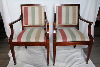 Pair of English Regency Hand Painted Mahogany Armchairs, New Upholstery, c. 1920