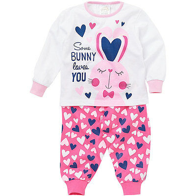 Lullaby Baby Girls Some Bunny Loves You Hearts Long Sleeve Cotton Pyjamas Pink