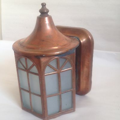 Vintage Copper & 5-Sided Glass Panels Entry Sconce Antique Light Fixture