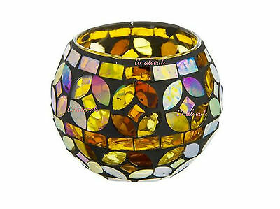 Beautiful Multi coloured Amber Mosaic stained glass Tealight Holder