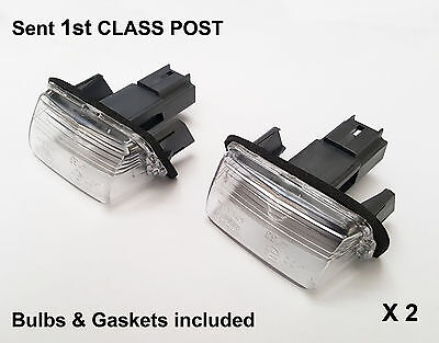 2 x Peugeot 206 207 306 307 308 406 407 5008 Estate Number Plate Light Lamp New