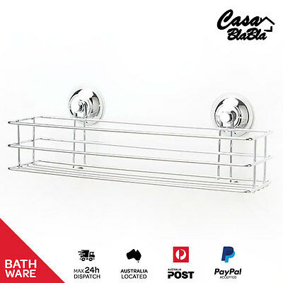 Chrome Plated Rectangular Shower Rack - Suction Cup - Bathroom Ware