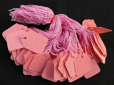 100 x 42mm x 27mm Pink Strung String Tags Swing Price Tickets Tie On Labels