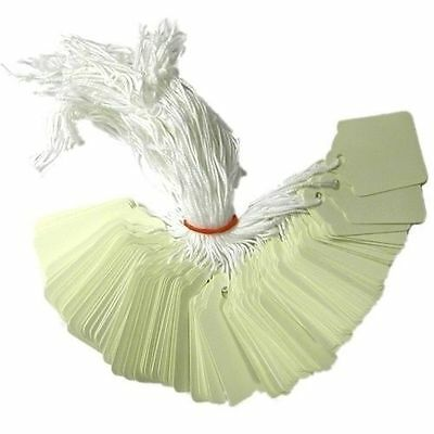 1000 x 37mm x 24mm White Strung String Tags Swing Price Tickets Tie On Labels