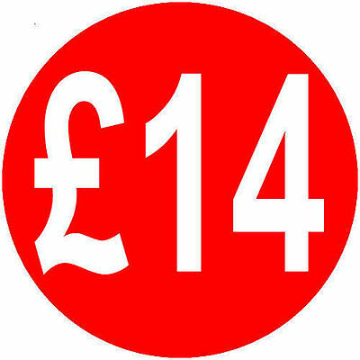 200 x £14 40mm Red Round Self Adhesive Peelable Removable Price Labels Stickers