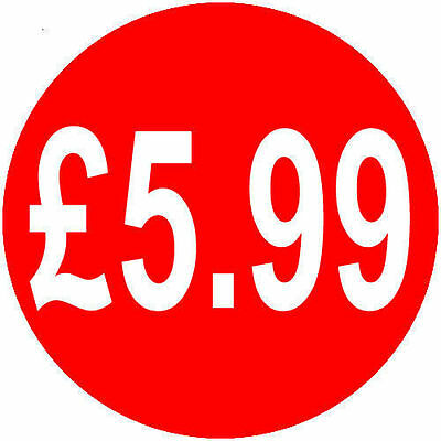 500x £5.99 40mm Red Round Self Adhesive Peelable|Removable Price Label Stickers