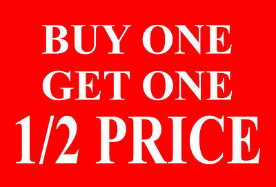 Buy One|1 Get One|1 1/2 Price Sale Sign Card Retail Shop Display-High Quality