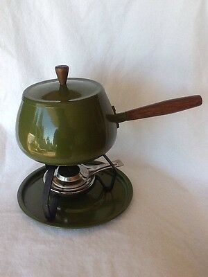 Vintage Mid Century Modern Green Fondue Pot W/ Candle No Electricity Required!!!