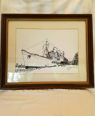 Vintage Signed RMS Queen Mary at Long Beach Print Nicely Framed and #'d 127/250