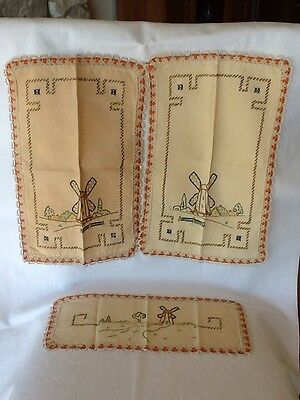Antique Arts Crafts Era Hand Embroidered Linen Tablecloth Napkins Afternoon Tea!