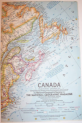 """Vintage 1961 National Geographic Map-CANADA-25"""" w x 19"""" t-Great Condition"""