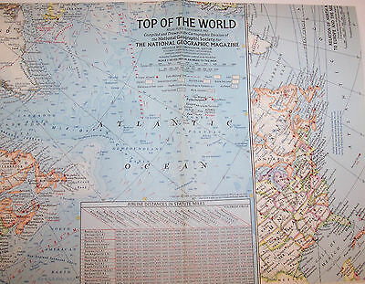 """Vintage 1965 National Geographic Map-TOP of the WORLD-25"""" w-19"""" t-Great Cond"""