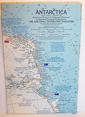 Vintage 1963 NATIONAL GEOGRAPHIC Map-ANTARCTICA-Atlas Plate #65-4 Insets