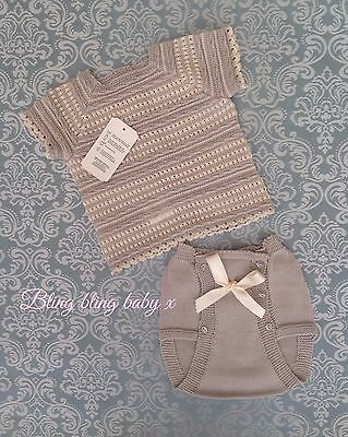 Baby Boys Spanish Knitted Bow Short Set/ Outfit  - Light Grey /Beige  0-3 Months