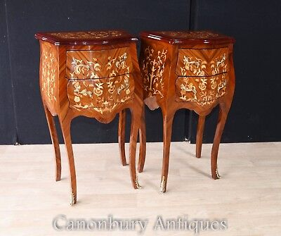 Pair French Empire Tall Bombe Chests Nightstands Commodes