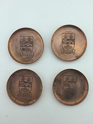 4X Quebec Coats of Arms Copper Coaster