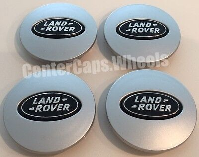 (SET OF 4) NEW Land Rover LR Range Rover Sport SILVER  w/ BLACK OVAL CENTER CAPS