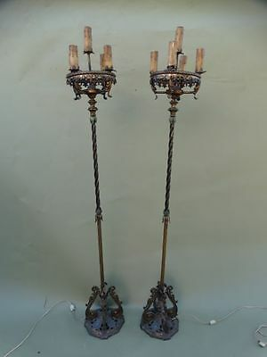 Pair of Spanish Revival Gilt Bronze and Bronze Polychrome Torchières