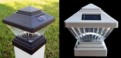 2-Pack Black or White 4x4 Square Solar Post Cap PVC Vinyl Deck Fence LED Lights