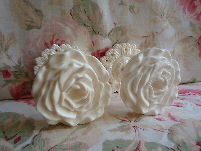 Shabby & Chic Large Rose Curtain Drapery Tie-Backs PAIR (Style #2)