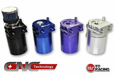 Blue - TTRacing Baffled Universal Aluminum Oil Catch Tank Can Reservoir Breather