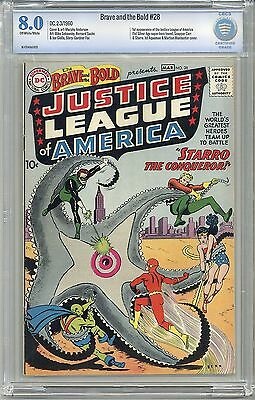 BRAVE AND THE BOLD #28 CBCS 8.0 OW/WHITE PGS! 1ST Justice League of America FShp