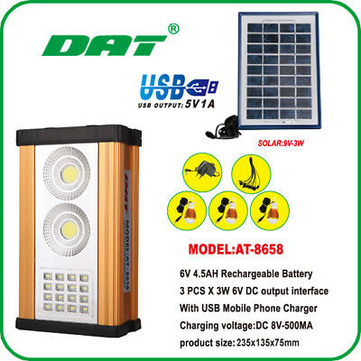 Solar 10W Home System Kit Night Market Outdoor Light Phone USB Charging Battery