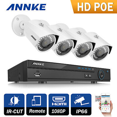 ANNKE 8CH HD 1080P NVR PoE 4X3.0MP Dome Home CCTV Security Camera System IR Cut