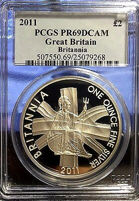 2011 Great Britain Britannia PCGS PR69 DCAM 1 Oz Silver Coin