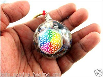Energized Lucky Jet Orgone Sphere Hanging Ball Flower of Life Mix Chakra