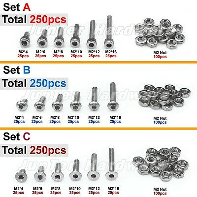 250pcs M2(2mm) A2 Stainless Steel Allen Bolts With Hex Nuts Screws Assortment