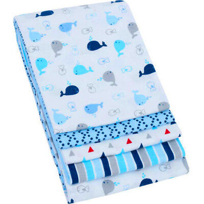 4 Pack Receiving Blankets Blue Baby Boys Swaddling 100% Cotton Infants