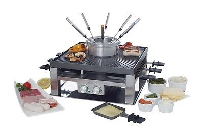 Solis Combi-Grill 3in1 Raclette Fondue Set Griller NEU OVP