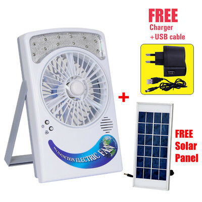 Rechargeable Multi- Function Fan With 12 Leds High Brightness Cool Solar System