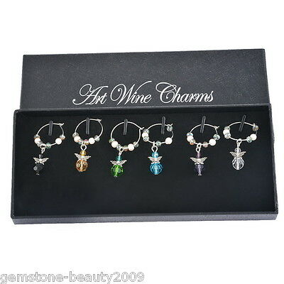Wholesale HOT! Mixed Angel Christmas Glass Wine Charms Ring Table Decorations