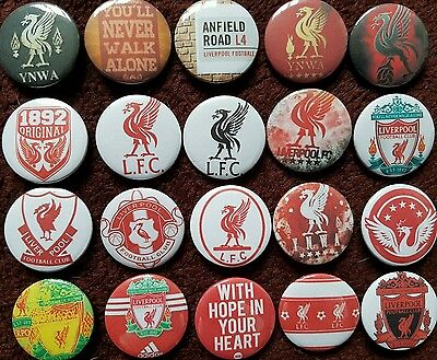 Liverpool FC Button Badges x 20 (SET 1). Pins. Collector. Bargain :0)