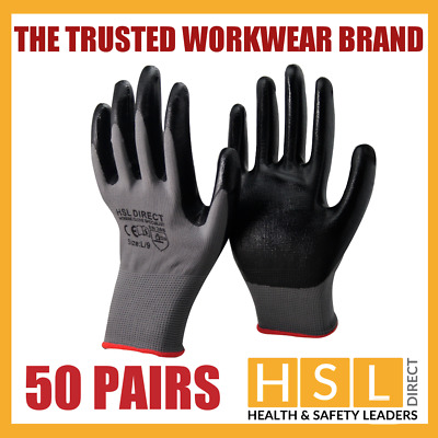 50 Pairs 100% Premium Nitrile Coated Safety Work Gloves Gardening Builders