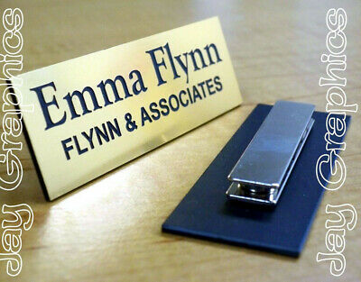 Custom Engraved 1x3 Brushed Gold Name Tag | Badge & Magnet | Employee Magnetic