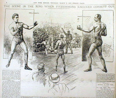 3 BEST 1897 display newspapers BOXING Bob Fitzsimmons defeats James J Corbett