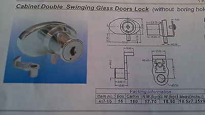 "double Glass cabinet locks (6mm-1/4"" thick glass) C417-1-5-110--keyed the same"